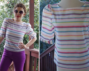 STRIPES 1980's 90's Vintage Jewel Tone Striped Cotton Blouse w/ Short Sleeves // by JR'S // size Small Med