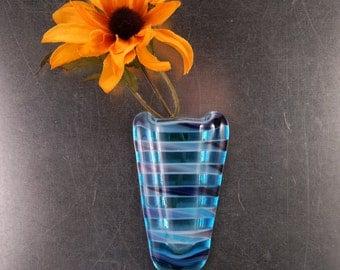 Sky blue Stripes Pocket vase,  magnetic fused glass vase, small glass vase, magnet