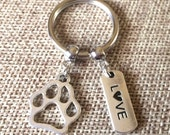 Dog Paw  Keychain - Gifts For Dog Lovers - Stocking Stuffers - Dog Zipper Pull