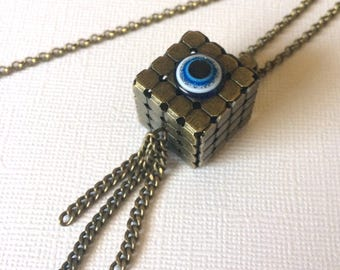 Square Cube Evil Eye Necklace on Bronze Rolo Chain