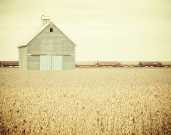 Train Photography, Rural Photo, Barn, Countryside, Illinois Country Landscape, Agriculture, Railroad, Transportation