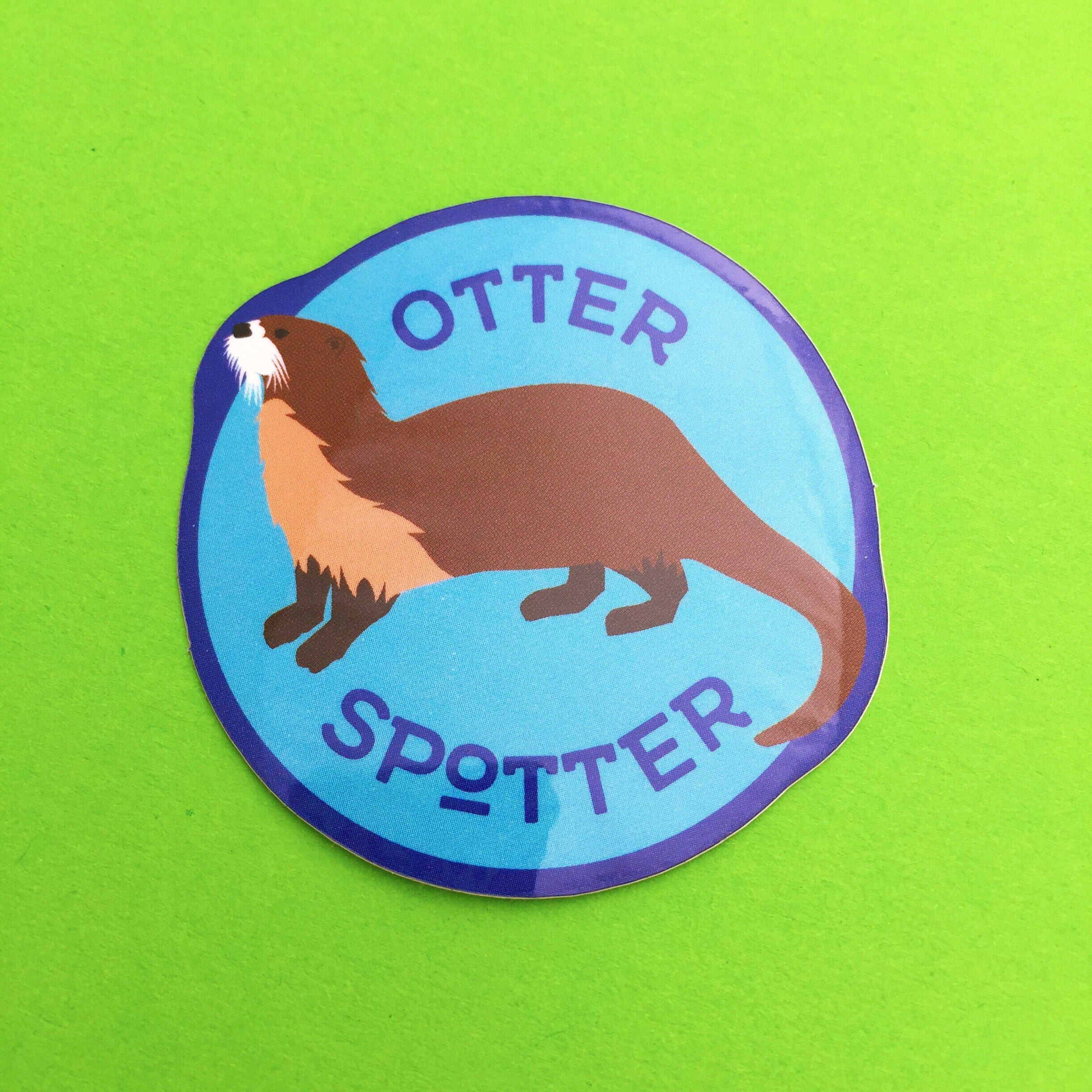 otter spotter vinyl sticker cute otter sticker. Black Bedroom Furniture Sets. Home Design Ideas