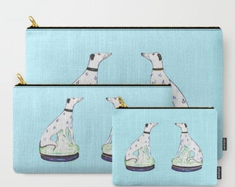 STAFFORDSHIRE GREYHOUND TWINS  Pouches/Ipad case - 2 Colors
