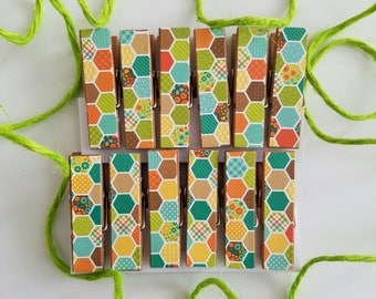 Honeybee Honeycomb Fall Colors - Chunky Clothespins w Twine for Display - Little Wooden Clips Set of 12