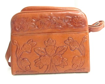 Tooled Leather Handbag Purse Vintage Old Mexico