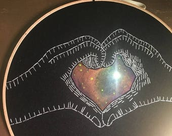 Youre awesome SALE Cosmic Love - hand drawn, painted and embroidered wall hanging / hoop art with LED light