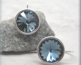Denim Blue Rivoli Earrings, Swarovski Crystal Earrings, Sterling Silver, Minimalist Earrings, Everyday Jewelry,  Bridesmaid Gift (SE512)
