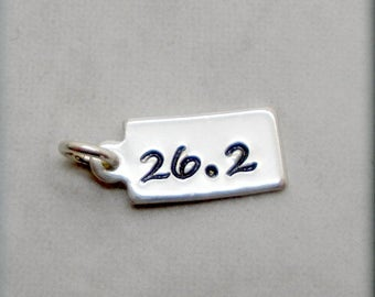 Tiny 26.2 Charm, Sterling Silver, Runners Jewelry, Running Charm, Distance Charm, Add On for Bracelet, Handstamped, Race, Sport CH004