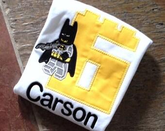 Lego Batman inspired personalized Birthday Tshirt or Bodysuit, Your choice of number, Birthday Tee, Lego Birthday Tshirt