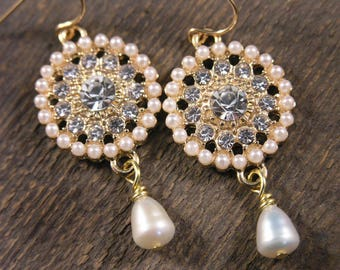 Diamonds and Ivory freshwater pearls with gold handmade earrings