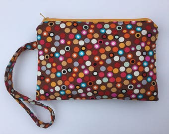 Dotted Zippered Wristlet Pouch
