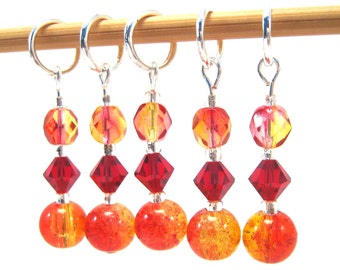 Stitch Markers for Knitting or Crochet, Customizable with Removable Hooks or Rings, Tequila Sunrise