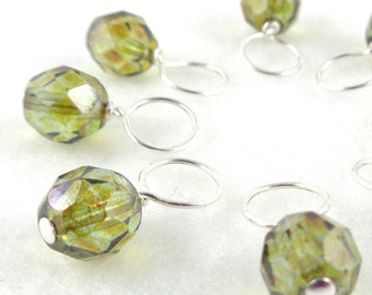 Snag-Free Stitch Markers for Knitting or Crochet, Aurora Peridot, Choose Your Size, Set of 8, Customizable with Removable Hooks or Rings