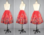 1950s / novelty skirt / cotton / A MOVEABLE FEAST vintage novelty print skirt