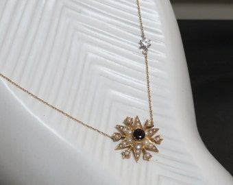 Victorian 9k Garnet and Seed Pearl Star Snowflake Necklace with CZ