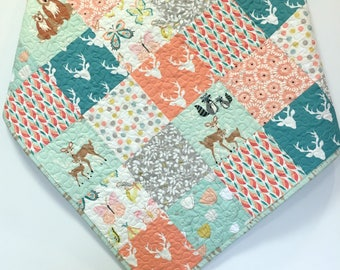 Baby Girl Woodland Quilt Patchwork Hello Bear Deer Nursery Crib Bedding Butterflies  Mint Peach Teal Forest Animals