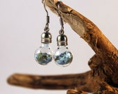 Cloudy day frit earrings, terrarium earrings, modern jewelry, blue grey weather keepsake, maritime, sea, ocean, water, netherland, Holland