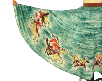 50s Painted Mexican Circle Skirt / Vintage 1950s Hand Painted Cotton Full Circle Skirt with Horses / One of a Kind Jorelle / Rockabilly Boho