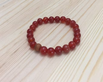Carnelian Bracelet, Gemstone Bracelet, Yoga Bracelet, Stretchy Bracelet, Stretch Bracelet, Stacking Bracelet, Boho, Free Spirit, Friendship
