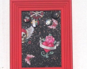 25% OFF Teen Bedroom Organization, Graduation Gift, Framed Corkboard, Red Teen Bedroom Decor, Tattoo Red Framed Corkboard