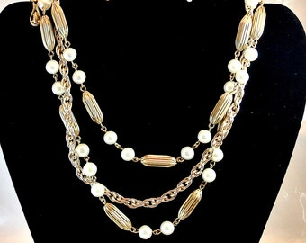 Vintage Coro Necklace, Pearl Gold Tone Bead Necklace, Vintage 3 Strand Chain Necklace, 15 Inch Necklace, Gift For Her