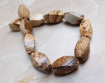 Picture Jasper twisted barrel beads