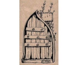 rubber stamp fairy door hobbit gnome  steampunk zentangle  art stamps original design by Mary Vogel Lozinak no 20113