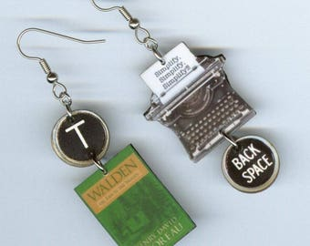 Book Cover Typewriter Earrings - Walden Henry David Thoreau quote transcendental - book club librarian student graduation literary gift