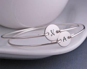 Bridesmaid Jewelry, FOUR, Modern Bridesmaid Gift,  Bracelet, Sterling Silver Bangle Bracelets