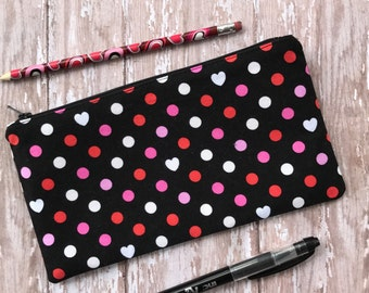 Hearts Zipper Pouch  Pencil Pouch  School Supplies Purse Organizer Gift For Her Gift Makeup Pouch Accessory Bag Cosmetic Bag