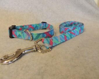 "Medium Dog Collar and / or 4 Foot Dog Leash 3/4"" Wide Pastel Plaid"