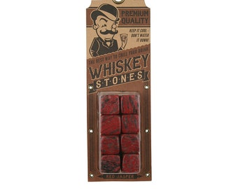 Red Jasper Whiskey Stones - Keeps your drink cold or hot - by Trixie & Milo - Barware/Bar Accessories/Gifts