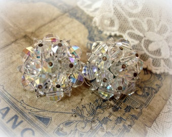 vintage mid century LAGUNA crystal earrings beaded crystal ab crystal clip ons