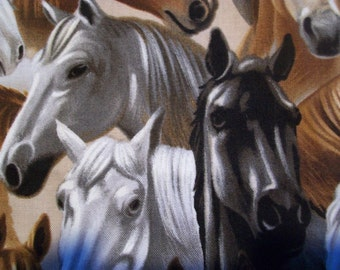 Kanvas Best of the West Horses Grey - by the yard - Horse Heads Fabric