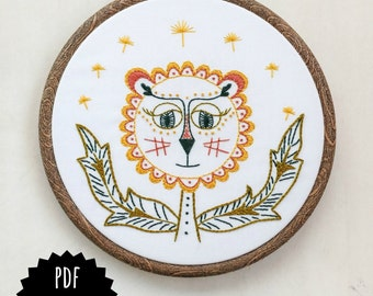 DANDY LION - pdf embroidery pattern, embroidery hoop art, DIY stitching, dandelion flower, little lion, yellow and orange lion flower