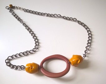 statement necklace with geometric pendant and glass beads - silver necklace with chunky mustard beads - boho necklace - calliope necklace