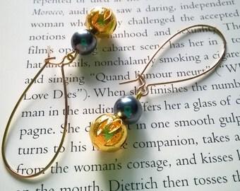 gold dangle earrings - pearl earrings in glossy gray and gold - filigree dangle earrings with pearls - tilly filigree earrings