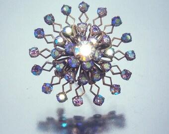 Snowflake Pin Aurora Borealis Rhinestone Brooch Vintage