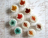RESERVED for Nicola only - Real Leaf and Real Flower Drawer Knobs - Set of 10 – botanical home décor, drawer pulls, decorative knobs, ooak