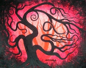 Canadian Art,Tree painting, tree, original fine art, Red tree, acrylic painting by Jordanka Yaretz