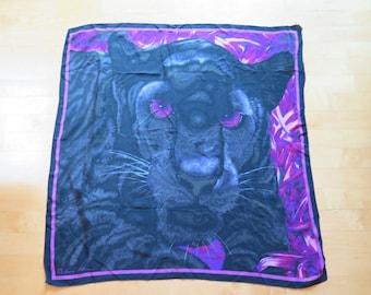 Vintage Anne Klein Black Panther Silk Scarf