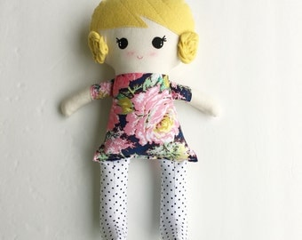 Funky Fabric Doll, navy floral