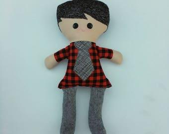 Funky Fabric Boy Doll, black hair