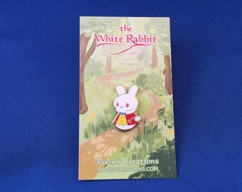 The White Rabbit Moon Bun Enamel Pin - Amigurumi Bunny Rabbit Badge - Alice's Adventures in Wonderland