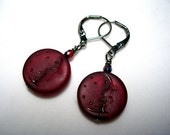 Man in the Moon Earrings Red Earrings Crystal Earrings Dangle Earrings Dark Blood Red Iridescent Shimmer Moon and Stars