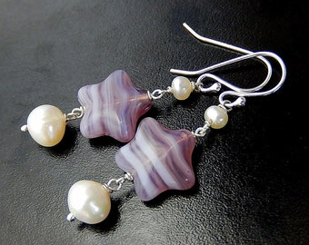 Purple Star Earrings, Pearl Drops, Violet Celestial Dangles, Sterling Silver