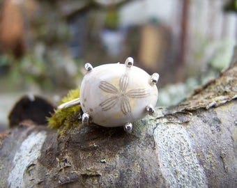 Sea Urchin Fossil, sterling silver prong setting, sterling silver ring