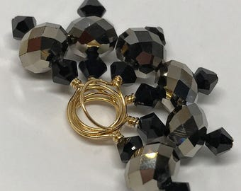 Stitch Markers -Gold Metal and Jet Swarovski Crystal