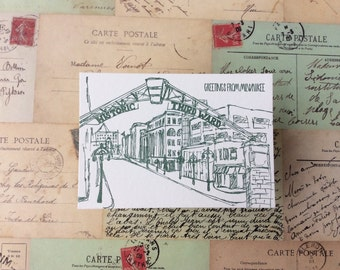 Milwaukee - five letterpress postcards