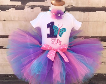 Butterfly 1st Birthday Tutu Outfit- Pink, Purple, & Turquoise- Personalized Baby Girl